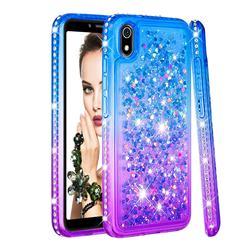 Diamond Frame Liquid Glitter Quicksand Sequins Phone Case for Mi Xiaomi Redmi 7A - Blue Purple