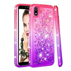Diamond Frame Liquid Glitter Quicksand Sequins Phone Case for Mi Xiaomi Redmi 7A - Pink Purple
