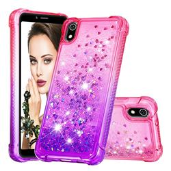 Rainbow Gradient Liquid Glitter Quicksand Sequins Phone Case for Mi Xiaomi Redmi 7A - Pink Purple