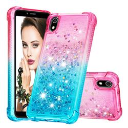 Rainbow Gradient Liquid Glitter Quicksand Sequins Phone Case for Mi Xiaomi Redmi 7A - Pink Blue