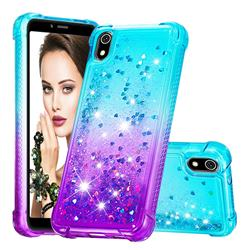 Rainbow Gradient Liquid Glitter Quicksand Sequins Phone Case for Mi Xiaomi Redmi 7A - Blue Purple