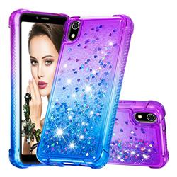 Rainbow Gradient Liquid Glitter Quicksand Sequins Phone Case for Mi Xiaomi Redmi 7A - Purple Blue
