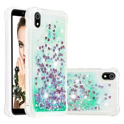 Dynamic Liquid Glitter Sand Quicksand TPU Case for Mi Xiaomi Redmi 7A - Green Love Heart