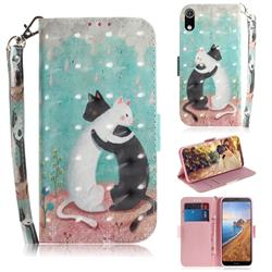 Black and White Cat 3D Painted Leather Wallet Phone Case for Mi Xiaomi Redmi 7A