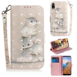 Three Squirrels 3D Painted Leather Wallet Phone Case for Mi Xiaomi Redmi 7A