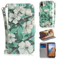 Watercolor Flower 3D Painted Leather Wallet Phone Case for Mi Xiaomi Redmi 7A