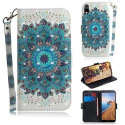 Peacock Mandala 3D Painted Leather Wallet Phone Case for Mi Xiaomi Redmi 7A