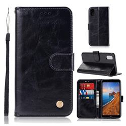 Luxury Retro Leather Wallet Case for Mi Xiaomi Redmi 7A - Black