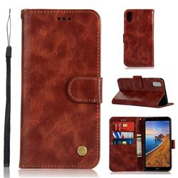 Luxury Retro Leather Wallet Case for Mi Xiaomi Redmi 7A - Wine Red