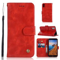 Luxury Retro Leather Wallet Case for Mi Xiaomi Redmi 7A - Red