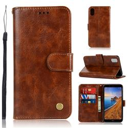 Luxury Retro Leather Wallet Case for Mi Xiaomi Redmi 7A - Brown