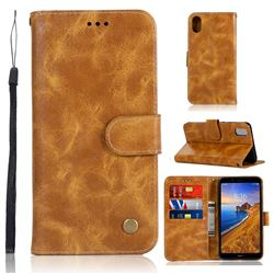 Luxury Retro Leather Wallet Case for Mi Xiaomi Redmi 7A - Golden