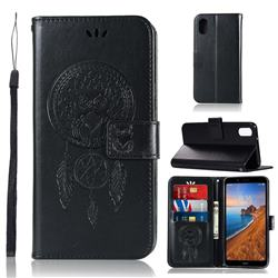 Intricate Embossing Owl Campanula Leather Wallet Case for Mi Xiaomi Redmi 7A - Black