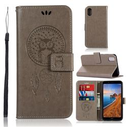 Intricate Embossing Owl Campanula Leather Wallet Case for Mi Xiaomi Redmi 7A - Grey