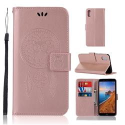 Intricate Embossing Owl Campanula Leather Wallet Case for Mi Xiaomi Redmi 7A - Rose Gold