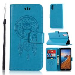 Intricate Embossing Owl Campanula Leather Wallet Case for Mi Xiaomi Redmi 7A - Blue