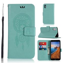 Intricate Embossing Owl Campanula Leather Wallet Case for Mi Xiaomi Redmi 7A - Green