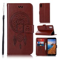 Intricate Embossing Owl Campanula Leather Wallet Case for Mi Xiaomi Redmi 7A - Brown