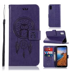 Intricate Embossing Owl Campanula Leather Wallet Case for Mi Xiaomi Redmi 7A - Purple