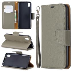 Classic Luxury Litchi Leather Phone Wallet Case for Mi Xiaomi Redmi 7A - Gray