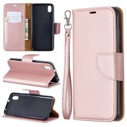Classic Luxury Litchi Leather Phone Wallet Case for Mi Xiaomi Redmi 7A - Golden