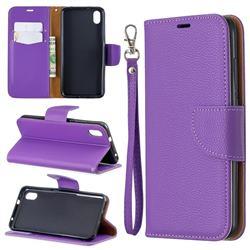 Classic Luxury Litchi Leather Phone Wallet Case for Mi Xiaomi Redmi 7A - Purple