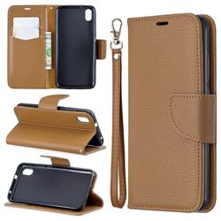 Classic Luxury Litchi Leather Phone Wallet Case for Mi Xiaomi Redmi 7A - Brown