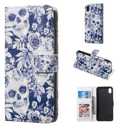 Skull Flower 3D Painted Leather Phone Wallet Case for Mi Xiaomi Redmi 7A