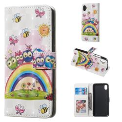 Rainbow Owl Family 3D Painted Leather Phone Wallet Case for Mi Xiaomi Redmi 7A