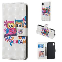 Couple Owl 3D Painted Leather Phone Wallet Case for Mi Xiaomi Redmi 7A