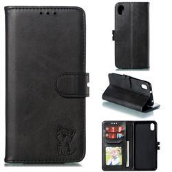 Embossing Happy Cat Leather Wallet Case for Mi Xiaomi Redmi 7A - Black