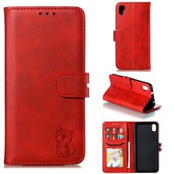 Embossing Happy Cat Leather Wallet Case for Mi Xiaomi Redmi 7A - Red