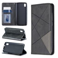 Prismatic Slim Magnetic Sucking Stitching Wallet Flip Cover for Mi Xiaomi Redmi 7A - Black