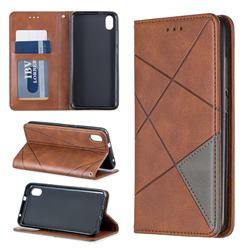 Prismatic Slim Magnetic Sucking Stitching Wallet Flip Cover for Mi Xiaomi Redmi 7A - Brown