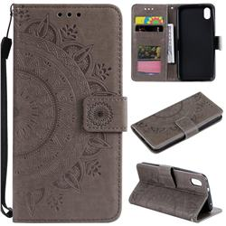 Intricate Embossing Datura Leather Wallet Case for Mi Xiaomi Redmi 7A - Gray
