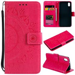 Intricate Embossing Datura Leather Wallet Case for Mi Xiaomi Redmi 7A - Rose Red