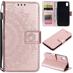 Intricate Embossing Datura Leather Wallet Case for Mi Xiaomi Redmi 7A - Rose Gold