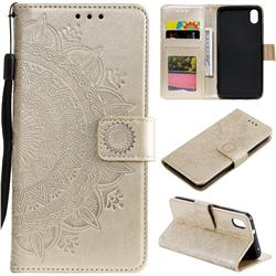 Intricate Embossing Datura Leather Wallet Case for Mi Xiaomi Redmi 7A - Golden