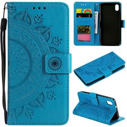 Intricate Embossing Datura Leather Wallet Case for Mi Xiaomi Redmi 7A - Blue