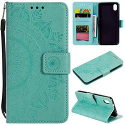 Intricate Embossing Datura Leather Wallet Case for Mi Xiaomi Redmi 7A - Mint Green