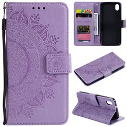 Intricate Embossing Datura Leather Wallet Case for Mi Xiaomi Redmi 7A - Purple