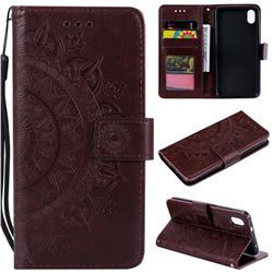 Intricate Embossing Datura Leather Wallet Case for Mi Xiaomi Redmi 7A - Brown