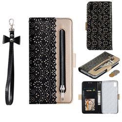 Luxury Lace Zipper Stitching Leather Phone Wallet Case for Mi Xiaomi Redmi 7A - Black