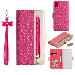 Luxury Lace Zipper Stitching Leather Phone Wallet Case for Mi Xiaomi Redmi 7A - Rose