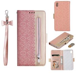 Luxury Lace Zipper Stitching Leather Phone Wallet Case for Mi Xiaomi Redmi 7A - Pink