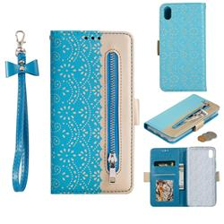 Luxury Lace Zipper Stitching Leather Phone Wallet Case for Mi Xiaomi Redmi 7A - Blue