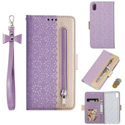 Luxury Lace Zipper Stitching Leather Phone Wallet Case for Mi Xiaomi Redmi 7A - Purple