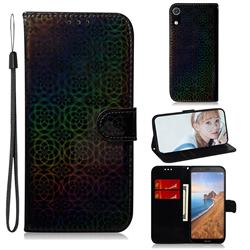 Laser Circle Shining Leather Wallet Phone Case for Mi Xiaomi Redmi 7A - Black