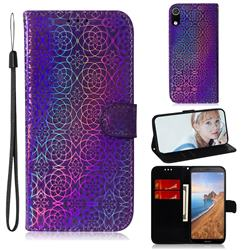 Laser Circle Shining Leather Wallet Phone Case for Mi Xiaomi Redmi 7A - Purple