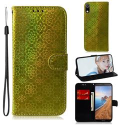 Laser Circle Shining Leather Wallet Phone Case for Mi Xiaomi Redmi 7A - Golden